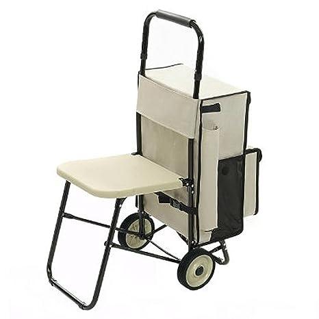 Carrito de la compra Multifuncional – Exclusivo Carrito de compra con asiento integrado plegable – rest