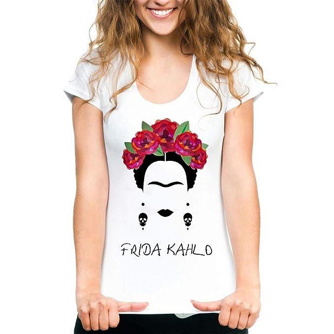 Qian Mei Frida Kahlo - Playera de Manga Corta para Mujer (Cuello Redondo) 2f926554ce49d