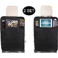 Sleeping Lamb Kick Mats Back Seat Protector with Clear IPAD Holder and Mesh Pocket,2 Packs (2 Kick Mats with Pockets)