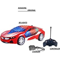 KIDSZONE 3D LED Light Modern Remote Control Car with Charger (Multicolor) Cheapest Rechargeable CAR with 3D Lights