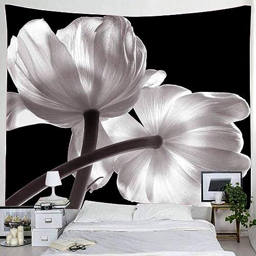BROSHAN Tapestry King Size Wall Hanging, Modern White Flower on Black Backdrop Artwork Fabric Hanging for Bedroom Living Room Wall Decor, 71 x 90