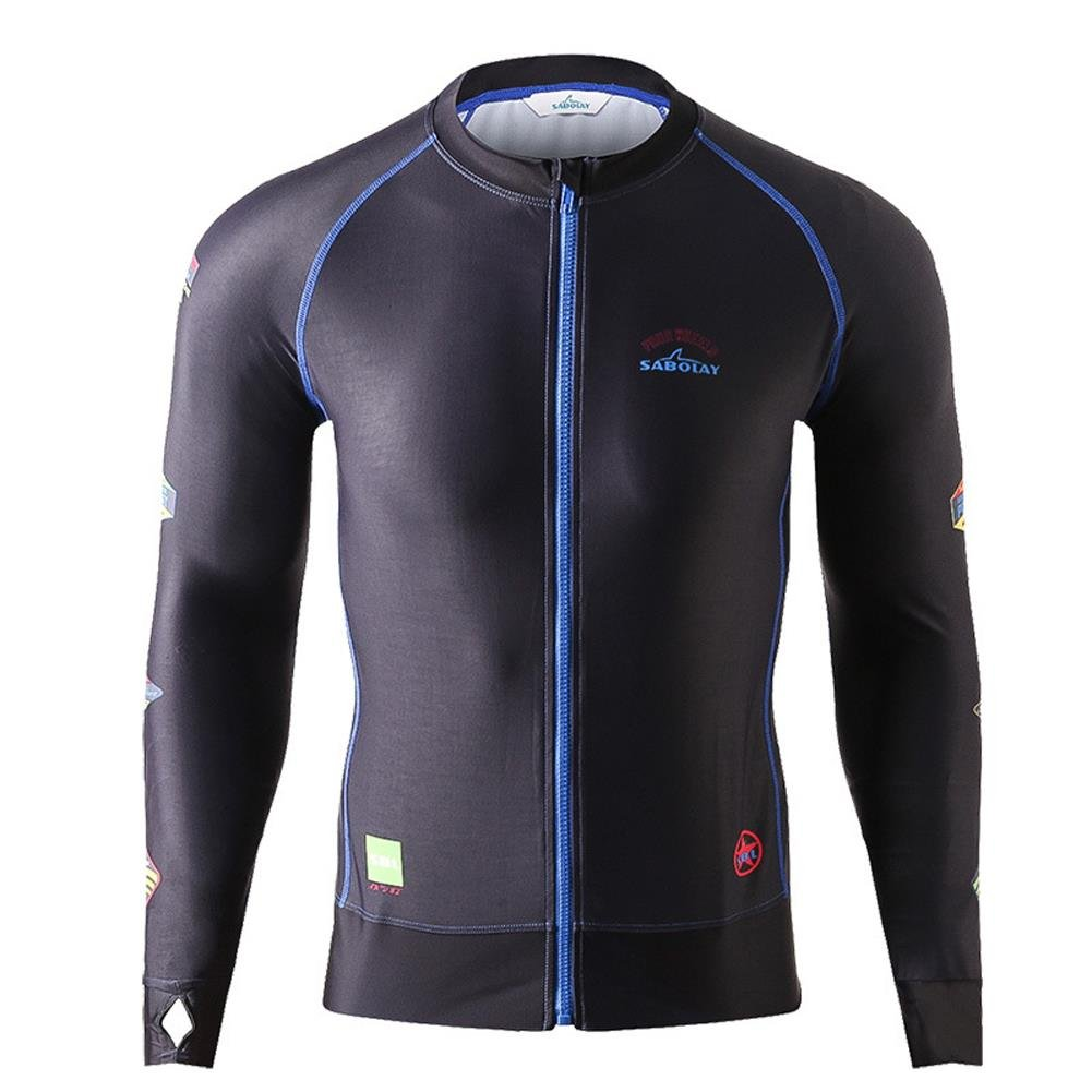 HOTIAN Mens Zip Long Sleeve Rash Guard UPF 50+ Skins Swim Tee Surfing Shirt SABOLAY