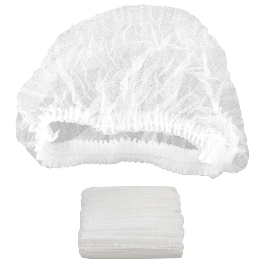 (100-PCS) WHITE Compressed DISPOSABLE BOUFFANT CAPS Non-woven Hair Cap Mob For Cosmetics, Beauty, Kitchen, Cooking, Home Industries, Hospital, Surgery. Lint-free (White)