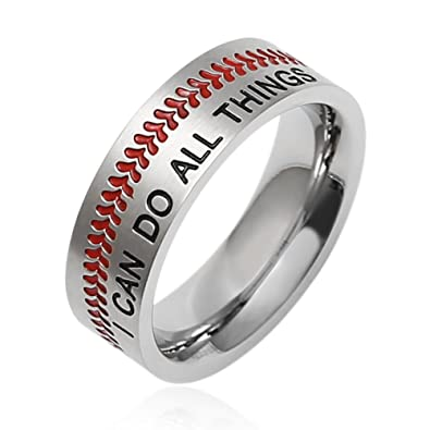 HZMAN Baseball Ring with Red Stitching, I CAN DO All Things Strength Bible  Verse Stainless Steel 7mm Rings