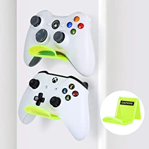 OAPRIRE Controller Holder Stand Wall Mount (2 Pack) - Perfect Display and Organization Modern&Retro Controller - Best PS4 Controller Stand with Cable Clips - Perfect Your Gaming Area (Clear Green)