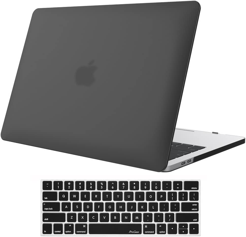 ProCase MacBook Pro 13 Case 2019 2018 2017 2016 Release A2159 A1989 A1706 A1708, Hard Case Shell Cover and Keyboard Skin Cover for MacBook Pro 13 Inch with/Without Touch Bar –Black