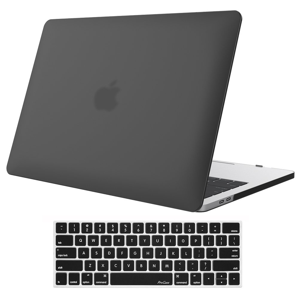 ProCase MacBook Pro 15 Case 2018 2017 2016 Release A1990/A1707, Hard Case Shell Cover and Keyboard Cover for Apple MacBook Pro 15'' (2018/2017/2016) with Touch Bar and Touch ID -Black