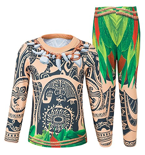 AmzBarley Costume Maui Moana Pajamas Set for Little Boy Pjs Kids Sleepwear Age 9-10 Years Size 10]()