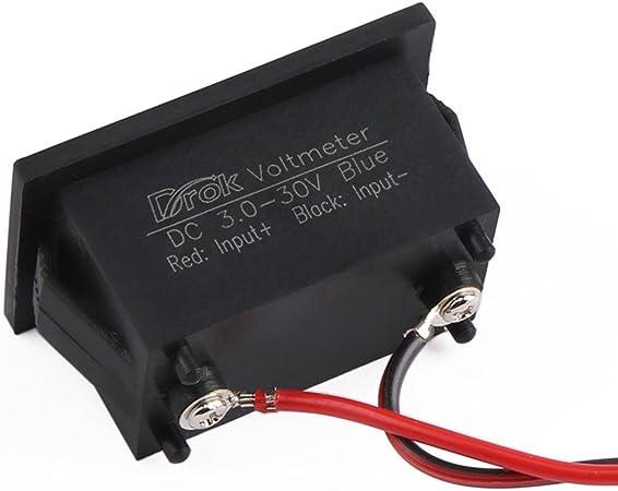Droking 0.40 Mini Digital Voltmetro Gauge 3.0-30V DC LED Blu 12V Tester di Tensione Impermeabile