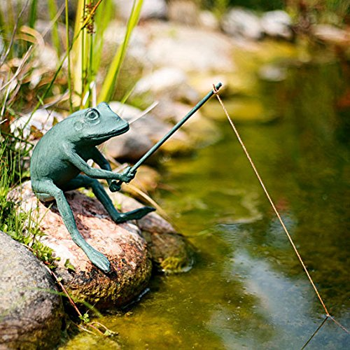 Teichfigur Fischender Frosch Quaxi