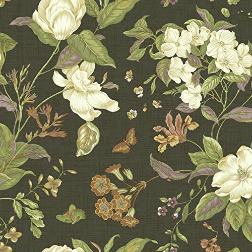 18th Century Wallpaper - York Wallcoverings WM2502 Williamsburg Garden Images Wallpaper, Black/White/Green/Orange/Russet/Purple/Gold