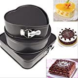 Home Buy Heart, Round and Square Shaped Springform Non Stick Baking Pan (Black) - Set of 3