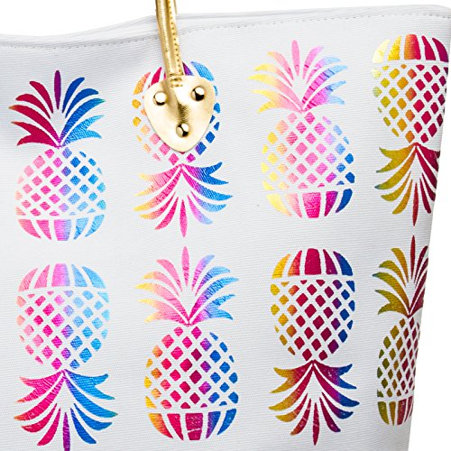 XXL Women Metallic Print Shopper CASPAR Large Elegant Beach Bag Summer Pineapple White TS1060 Multicoloured with qwAtpxBES
