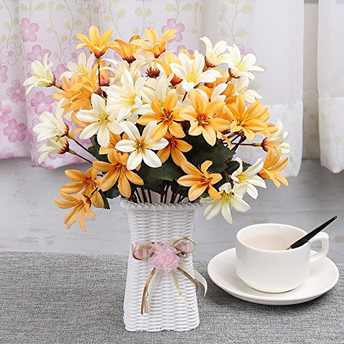 XHOPOS HOME Artificial Flowers Plastic Woven Flower Baskets Lily yellow Real Touch Silk Flowers Home Wedding Party Living Room (Yellow Lily Basket)