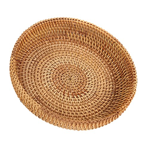 MagiDeal Handmade Round Woven Bread Roll Basket Fruits Bowl Storage Tray Container (Woven Large Round Bowl)