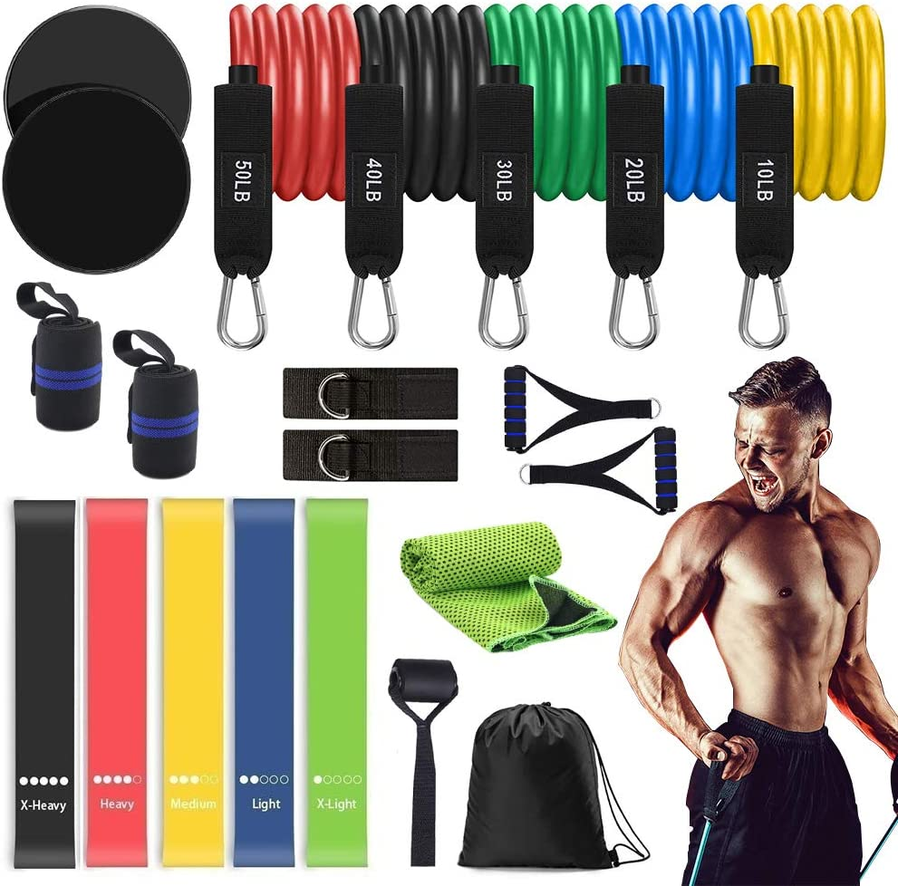 QDH Resistance Bands Set(22pcs) Workout Bands,5 Exercise Bands,Stackable Up to 150 lbs,5 Resistance Loop Bands,2 Core Sliders 2 Wrist Wraps Ankle Straps Handles Door Anchor,Home Workouts (22PCS)