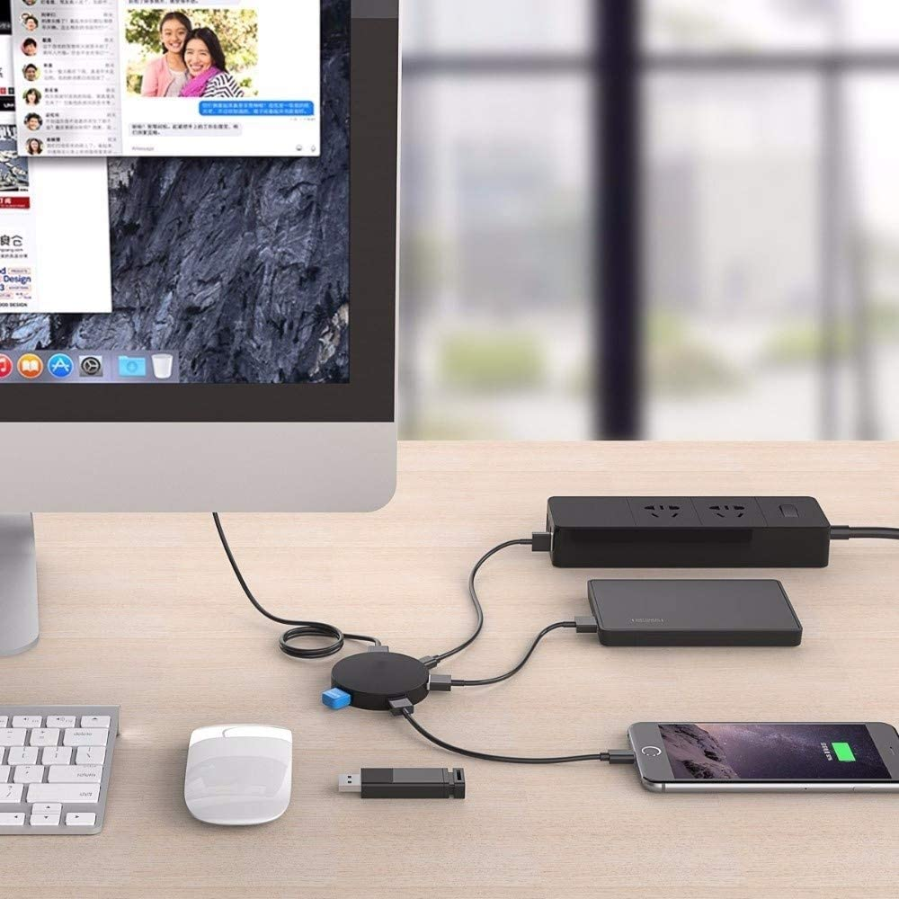 USB HUB Super Speed 4 Port USB HUB 3.0 Portable OTG HUB USB Splitter with LED Lamp New for Laptop PC Tablet USB Farbe : Black 100cm