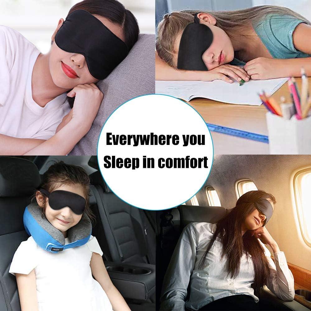 Sleep Mask Night Cover Eye Sleeping Silk Satin Masks for Women Men, Blindfold for Airplane Travel Adjustable Strap (Black): Health & Personal Care
