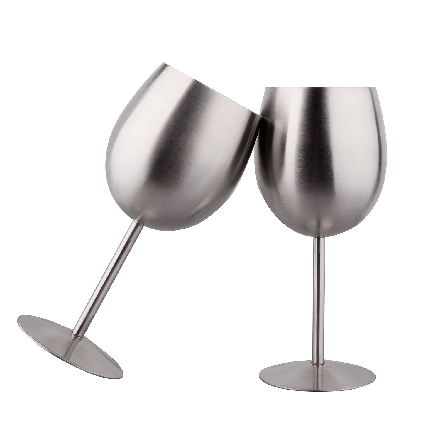 IMEEA® 10 Oz SUS304 Brushed Stainless Steel Wine Goblets Champagne Goblet, Set of 2