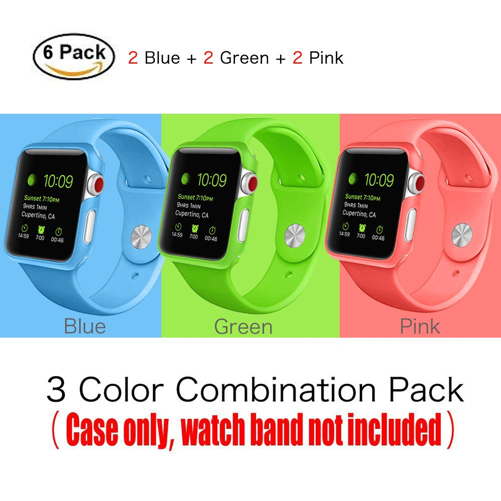 [3 Color Pack] Fintie for Apple Watch Case 38mm, Slim Lightweight Polycarbonate Hard Protective Bumper Cover for All Versions 38mm iWatch Series 3 (2017), Series 2 1 Sport & Edition - Multi Color C by Fintie (Image #6)