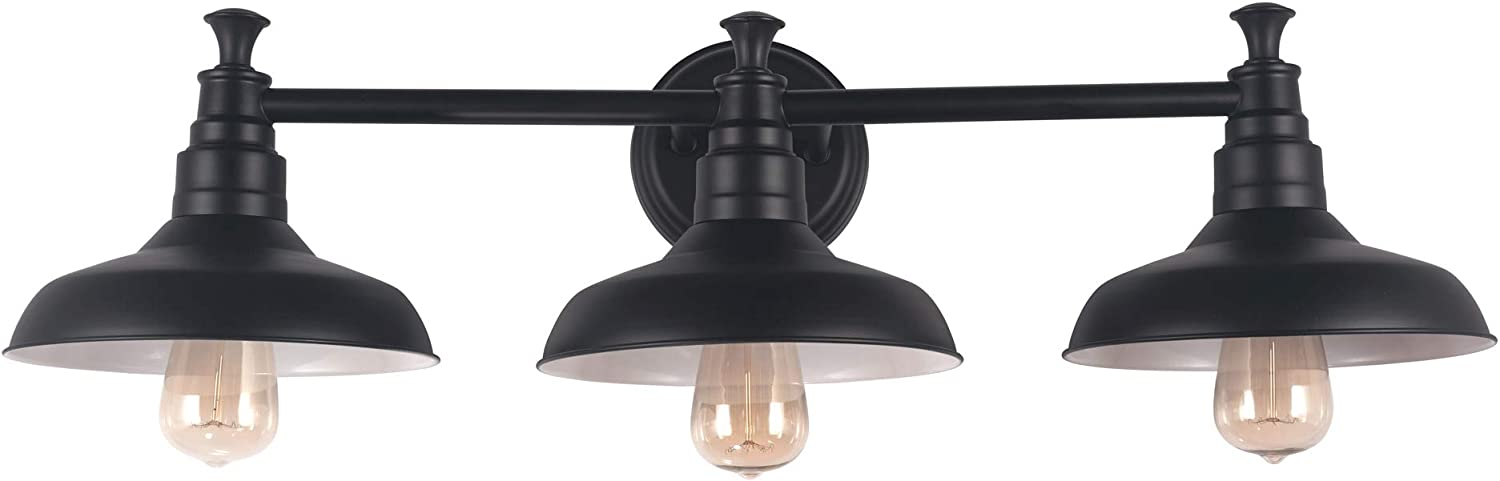 Design House 588533 Kimball Industrial Farmhouse Indoor Light with Metal Shade, Vanity, Matte Black