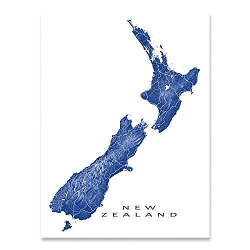 Where Is Wellington New Zealand On The Map.Amazon Com New Zealand Map Art Print Wellington Landscape Artwork