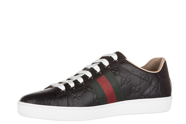 68594272d8e Gucci women s shoes leather trainers sneakers signature black UK size 4  387993 CWCG0 1070  Amazon.co.uk  Shoes   Bags