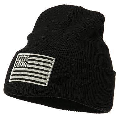 Amazon.com  E4hats Silver American Flag Embroidered Beanie - Black ... 5989212f6fe