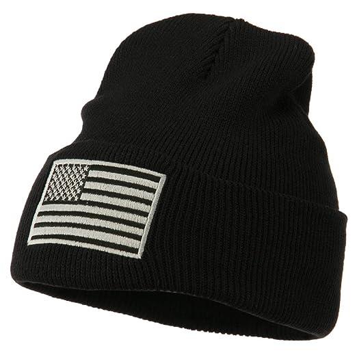 519e45fea7f Amazon.com  E4hats Silver American Flag Embroidered Beanie - Black ...
