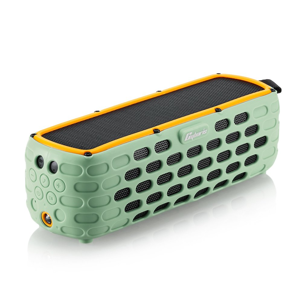 Cyboris Solar Bluetooth Speaker, 30+Hours Playing Time Portable Speaker with Splashproof Solar-Charged Wireless Bass IP65 Stereo Bluetooth 4.0 Loudspeaker Shock for Outdoor Sports (Green)