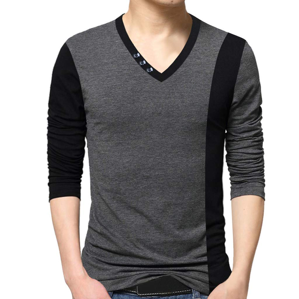 NUWFOR Men's New Fashion Standing Collar Men's Long Sleeve T-shirt Pure Blouse Top(Gray,M US/XL AS Bust:38.5'')