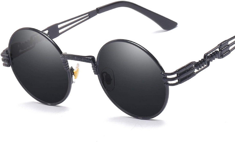 Retro gothic glasses sunglasses vintage round circle men UV steampunk mirror