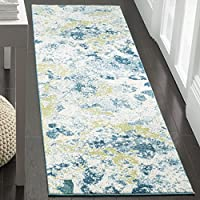 Safavieh Water Color Collection WTC696B Ivory and Light Blue Runner, 22 x 8