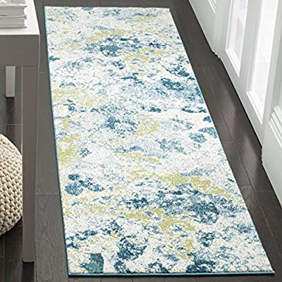 "Safavieh Water Color Collection WTC696B Ivory and Light Blue Runner, 2'2"" x 8' - The power loomed construction adds durability to this rug, ensuring it will be a favorite for a long time Each rug is made of rich, soft, high-density, plush polypropylene This modern rug will give your room a contemporary accent - runner-rugs, entryway-furniture-decor, entryway-laundry-room - 6186iZvtbtL. SS400  -"