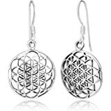 925 Sterling Silver Filigree Flower of Life Mandala Cut Open Round Dangle Hook Earrings, 33 mm