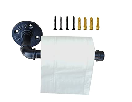 Rustic Industrial Pipe Toilet Paper Holder Toilet Roll Holder Heavy Duty Diy Style Wall Mounted Kit Towel Rack