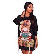 Felicity Young Women s Casual Round Neck Long Sleeve Graphic Print Tunic Sweatshirt  Dress Loose T Shirt 771bb60797f8