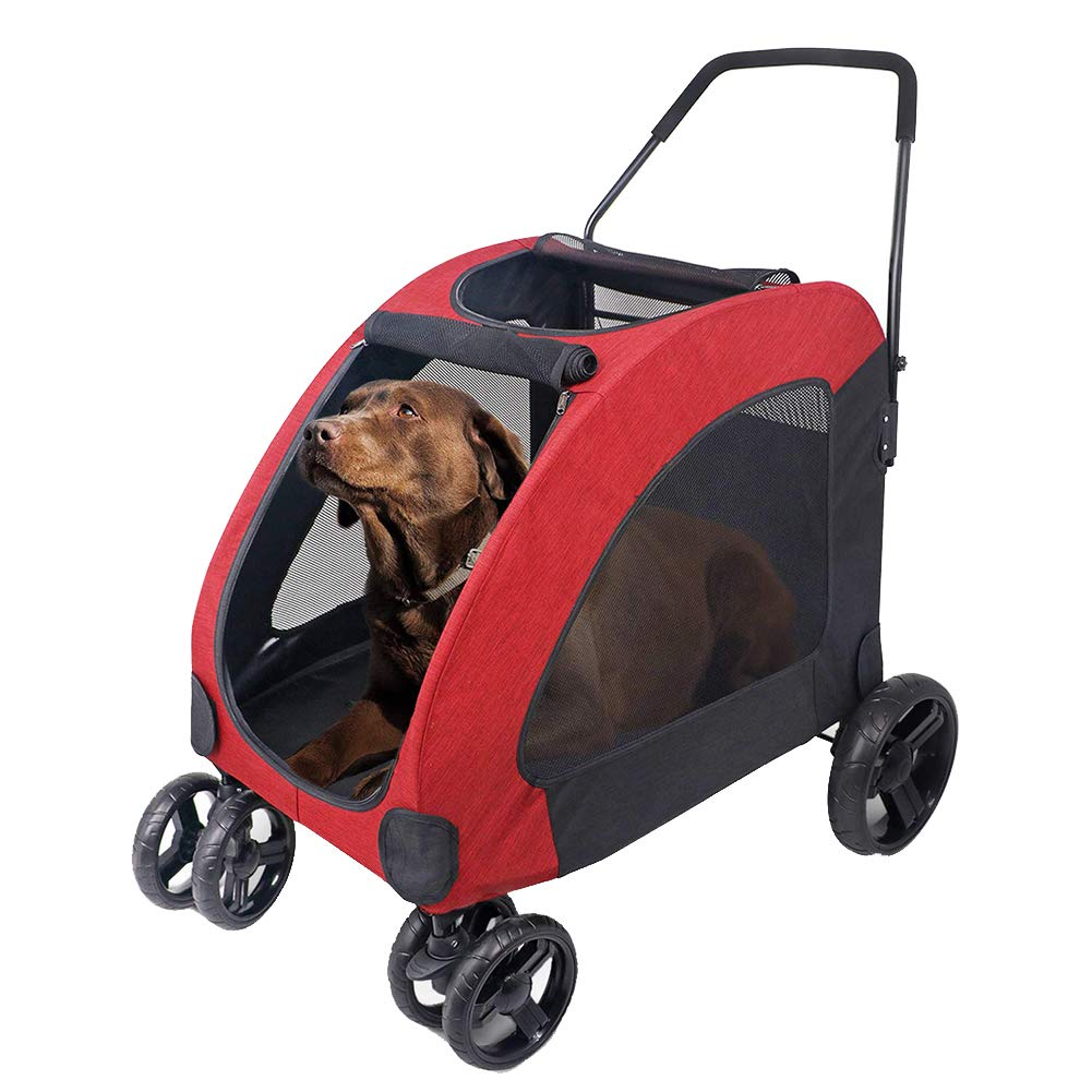 Red Portable Large Dog Pet Stroller, Front Wheel 360 redation For Directional Damping, One-Button Folding And Inssizetion With Safety Buckle,red