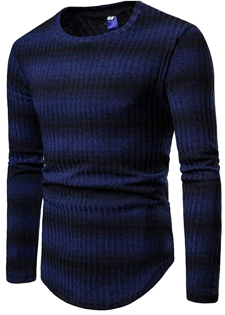Lutratocro Mens Round Neck Slim Thick Fall Knitted Ombre Striped Pullover Sweaters