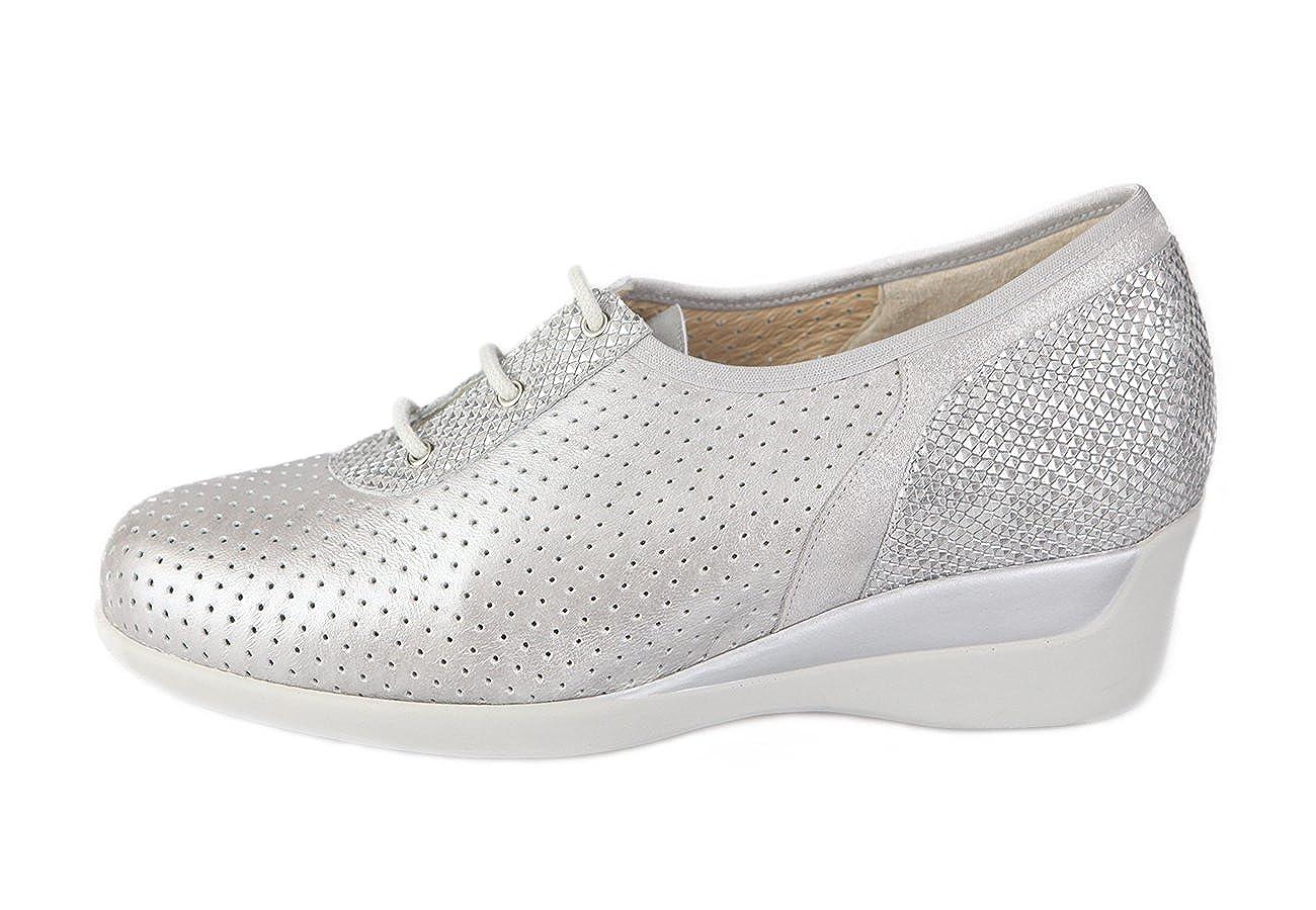 Zapato Cómodo para Plantillas. Color Plata. Horma para pies delicados con Anchos Especiales 41 EU