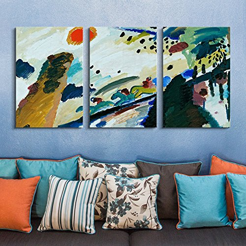 Kandinsky Modern Painting - wall26 3 Panel World Famous Painting Reproduction on Canvas Wall Art - Romantic Landscape by Wassily Kandinsky - Modern Home Decor Ready to Hang - 24
