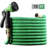 EnerPlex [2019 Model] X-Stream 75 ft Non-Kink Expandable Garden Hoses, 10-Pattern Spray Nozzle