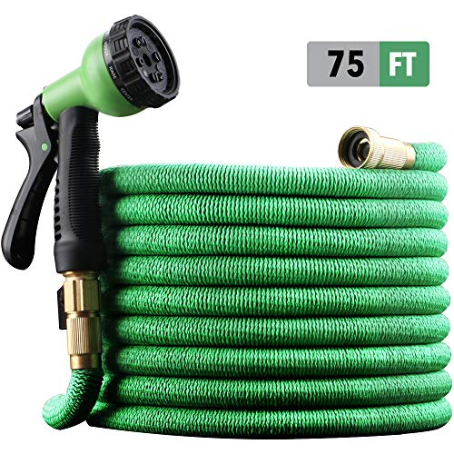 "EnerPlex [2019 Model] X-Stream 75 ft Non-Kink Expandable Garden Hoses, 10-Pattern Spray Nozzle Included, 3/4"" Brass Fittings with Shutoff Valve, Best 75"