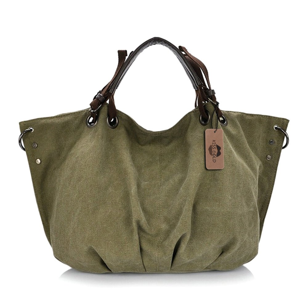 KISS GOLD(TM) European Style Canvas Large Tote Top Handle Bag Shopping Hobo Shoulder Bag, Size 22 '' X6.3'' X 14.2 '' (Army Green)