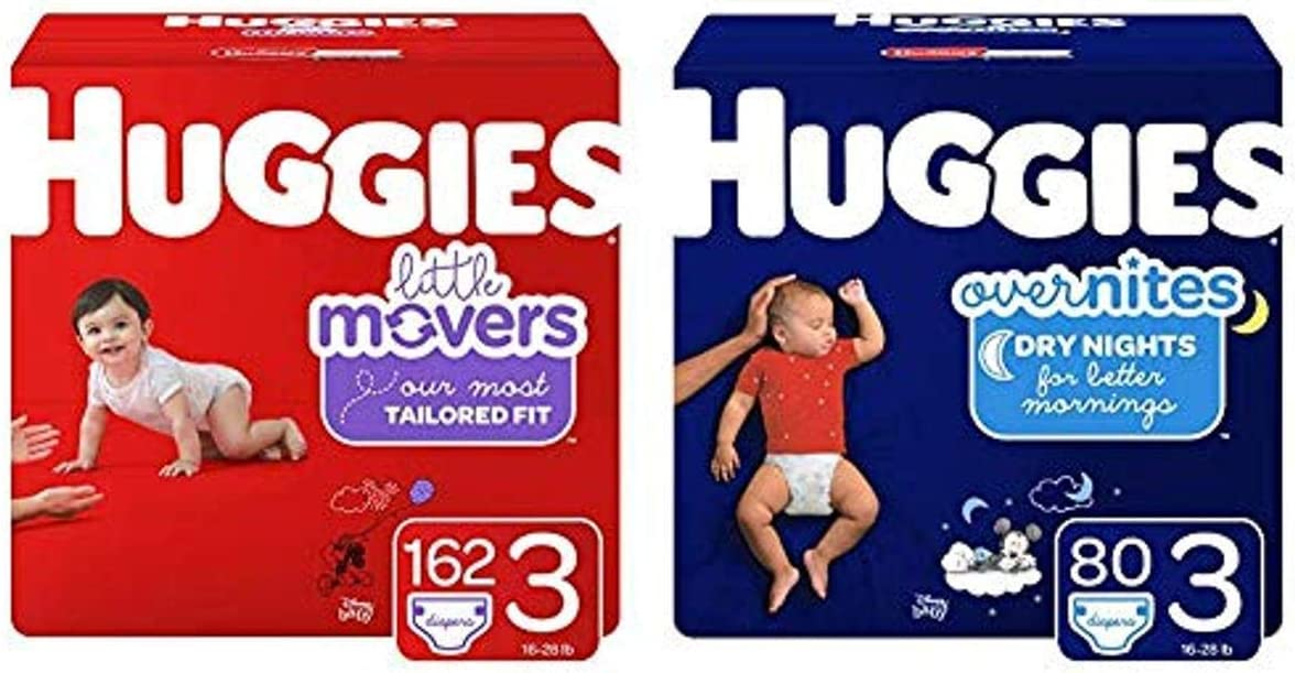 Huggies Day/Night Bundle- Little Movers Baby Diapers, Size 3, 162 Ct, One Month Supply & Overnites Nighttime Diapers, Size 3, 80 Ct (Packaging May Vary)