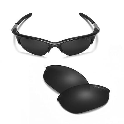 66e3eea99d Walleva Black Mr. Shield Polarized Replacement Lenses for Oakley Half Jacket