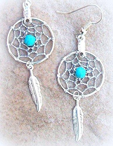 Silver dreamcatcher earrings, Native made dream catcher earrings,BLUE SKY ll,boho, tribal, Choctaw -