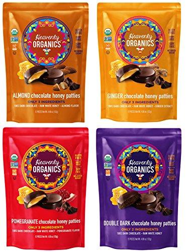 Heavenly Organics Chocolate Honey Pattie Variety Pack w/ 4 Flavors (Almond, Double Dark, Ginger, Pomegranate) 4.66 oz (4 Pack)