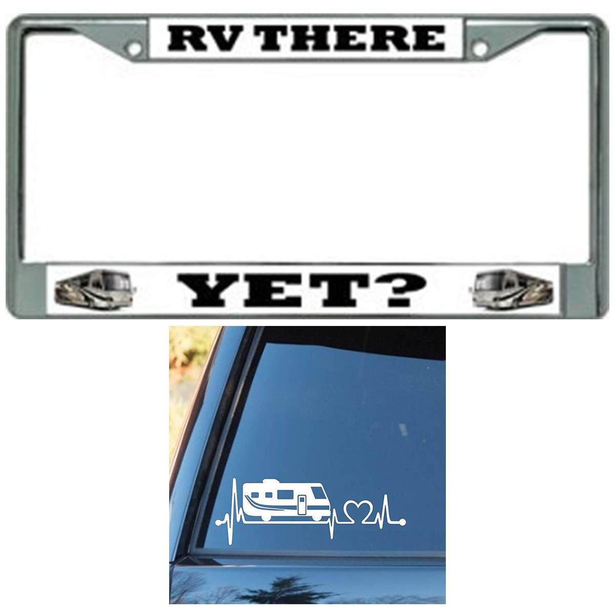 Butler Online Stores RV License Plate Frame Bundle with RV Decal Heartbeat Decal