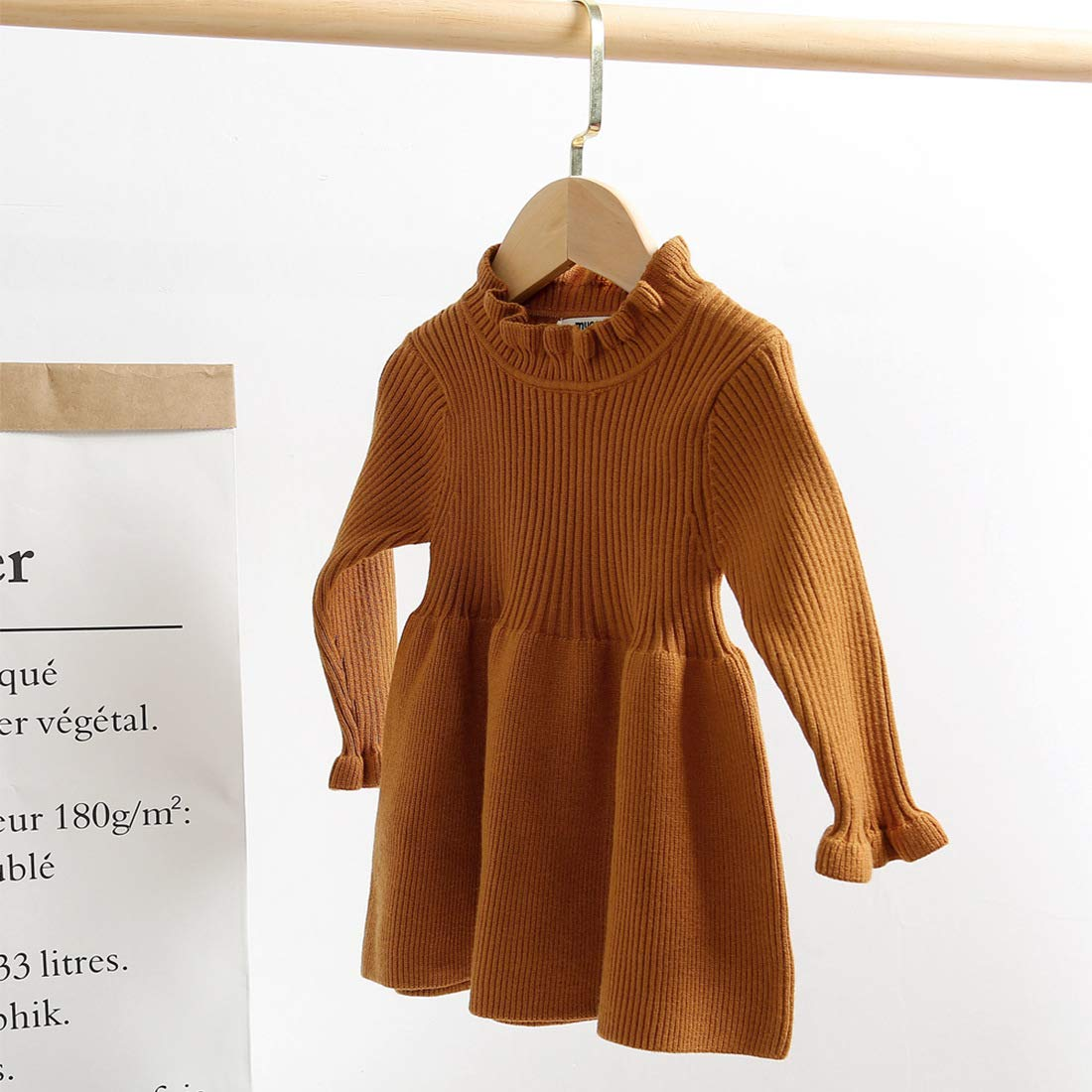 Simplee kids Little Girls Long Sleeve Cozy Casual Ribbed Knit Sweater Dress